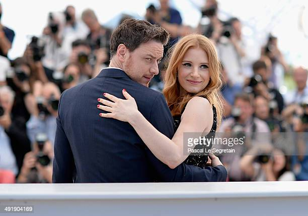 Actors James McAvoy and Jessica Chastain attend 'The Disappearance of Eleanor Rigby' photocall at the 67th Annual Cannes Film Festival on May 18 2014...
