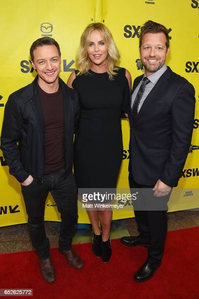 Actors James McAvoy Charlize Theron and director David Leitch attend the 'Atomic Blonde' premiere 2017 SXSW Conference and Festivals on March 12 2017...