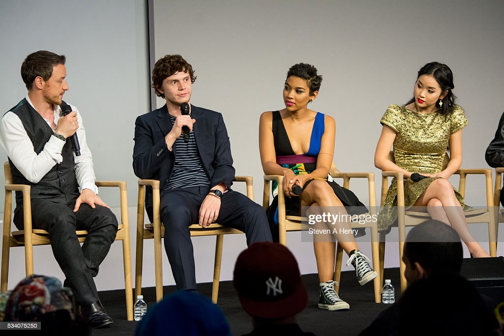 Actors <a gi-track='captionPersonalityLinkClicked' href=/galleries/search?phrase=James+McAvoy&family=editorial&specificpeople=647005 ng-click='$event.stopPropagation()'>James McAvoy</a>, <a gi-track='captionPersonalityLinkClicked' href=/galleries/search?phrase=Evan+Peters&family=editorial&specificpeople=2301160 ng-click='$event.stopPropagation()'>Evan Peters</a>, <a gi-track='captionPersonalityLinkClicked' href=/galleries/search?phrase=Alexandra+Shipp&family=editorial&specificpeople=10012876 ng-click='$event.stopPropagation()'>Alexandra Shipp</a> and <a gi-track='captionPersonalityLinkClicked' href=/galleries/search?phrase=Lana+Condor&family=editorial&specificpeople=14229196 ng-click='$event.stopPropagation()'>Lana Condor</a> attend Meet the Cast: 'X-Men Apocalypse' at Apple Store Soho on May 24, 2016 in New York City.