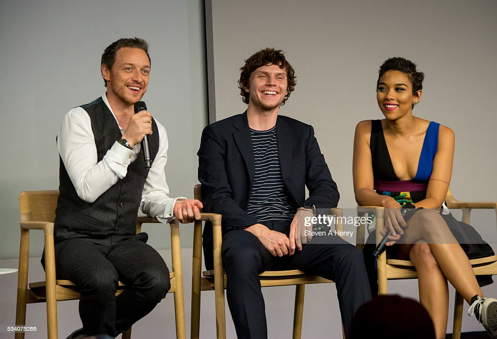 Actors <a gi-track='captionPersonalityLinkClicked' href=/galleries/search?phrase=James+McAvoy&family=editorial&specificpeople=647005 ng-click='$event.stopPropagation()'>James McAvoy</a>, <a gi-track='captionPersonalityLinkClicked' href=/galleries/search?phrase=Evan+Peters&family=editorial&specificpeople=2301160 ng-click='$event.stopPropagation()'>Evan Peters</a> and <a gi-track='captionPersonalityLinkClicked' href=/galleries/search?phrase=Alexandra+Shipp&family=editorial&specificpeople=10012876 ng-click='$event.stopPropagation()'>Alexandra Shipp</a> attend Meet the Cast: 'X-Men Apocalypse' at Apple Store Soho on May 24, 2016 in New York City.