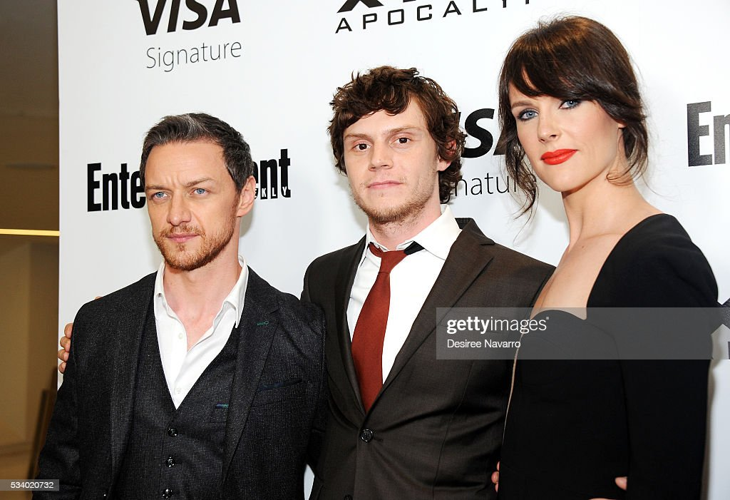 Actors <a gi-track='captionPersonalityLinkClicked' href=/galleries/search?phrase=James+McAvoy&family=editorial&specificpeople=647005 ng-click='$event.stopPropagation()'>James McAvoy</a>, <a gi-track='captionPersonalityLinkClicked' href=/galleries/search?phrase=Evan+Peters&family=editorial&specificpeople=2301160 ng-click='$event.stopPropagation()'>Evan Peters</a> and Carolina Bartczak attend 'X-Men Apocalypse' New York Screening at Entertainment Weekly on May 24, 2016 in New York City.