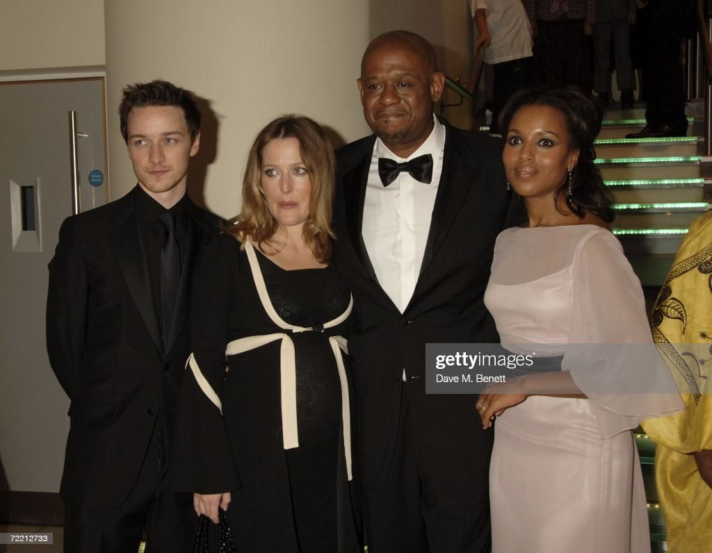 Actors James McAvoy, Gillian Anderson, Forest Whitaker and <a gi-track='captionPersonalityLinkClicked' href=/galleries/search?phrase=Kerry+Washington&family=editorial&specificpeople=201534 ng-click='$event.stopPropagation()'>Kerry Washington</a> arrive at the opening gala of The Times BFI London Film Festival showing 'The Last King Of Scotland', at Odeon Leicester Square on October 18, 2006 in London, England.