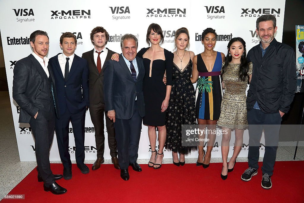 Actors <a gi-track='captionPersonalityLinkClicked' href=/galleries/search?phrase=James+McAvoy&family=editorial&specificpeople=647005 ng-click='$event.stopPropagation()'>James McAvoy</a>, <a gi-track='captionPersonalityLinkClicked' href=/galleries/search?phrase=Tye+Sheridan&family=editorial&specificpeople=7807719 ng-click='$event.stopPropagation()'>Tye Sheridan</a>, <a gi-track='captionPersonalityLinkClicked' href=/galleries/search?phrase=Evan+Peters&family=editorial&specificpeople=2301160 ng-click='$event.stopPropagation()'>Evan Peters</a>, Carolina Bartczak, <a gi-track='captionPersonalityLinkClicked' href=/galleries/search?phrase=Rose+Byrne&family=editorial&specificpeople=206670 ng-click='$event.stopPropagation()'>Rose Byrne</a>, <a gi-track='captionPersonalityLinkClicked' href=/galleries/search?phrase=Alexandra+Shipp&family=editorial&specificpeople=10012876 ng-click='$event.stopPropagation()'>Alexandra Shipp</a>, <a gi-track='captionPersonalityLinkClicked' href=/galleries/search?phrase=Lana+Condor&family=editorial&specificpeople=14229196 ng-click='$event.stopPropagation()'>Lana Condor</a>, <a gi-track='captionPersonalityLinkClicked' href=/galleries/search?phrase=Simon+Kinberg&family=editorial&specificpeople=2347671 ng-click='$event.stopPropagation()'>Simon Kinberg</a> attends the special screening of 'X-MEN Apocalypse' at Entertainment Weekly on May 24, 2016 in New York City.