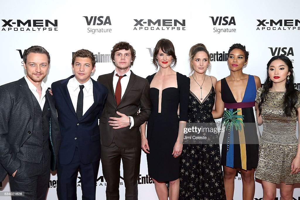 Actors <a gi-track='captionPersonalityLinkClicked' href=/galleries/search?phrase=James+McAvoy&family=editorial&specificpeople=647005 ng-click='$event.stopPropagation()'>James McAvoy</a>, <a gi-track='captionPersonalityLinkClicked' href=/galleries/search?phrase=Tye+Sheridan&family=editorial&specificpeople=7807719 ng-click='$event.stopPropagation()'>Tye Sheridan</a>, <a gi-track='captionPersonalityLinkClicked' href=/galleries/search?phrase=Evan+Peters&family=editorial&specificpeople=2301160 ng-click='$event.stopPropagation()'>Evan Peters</a>, Carolina Bartczak, <a gi-track='captionPersonalityLinkClicked' href=/galleries/search?phrase=Rose+Byrne&family=editorial&specificpeople=206670 ng-click='$event.stopPropagation()'>Rose Byrne</a>, <a gi-track='captionPersonalityLinkClicked' href=/galleries/search?phrase=Alexandra+Shipp&family=editorial&specificpeople=10012876 ng-click='$event.stopPropagation()'>Alexandra Shipp</a>, <a gi-track='captionPersonalityLinkClicked' href=/galleries/search?phrase=Lana+Condor&family=editorial&specificpeople=14229196 ng-click='$event.stopPropagation()'>Lana Condor</a> attends the special screening of 'X-MEN Apocalypse' at Entertainment Weekly on May 24, 2016 in New York City.