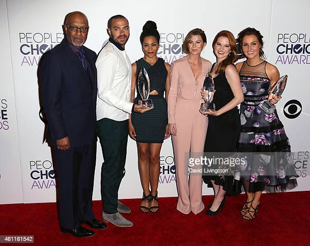 Actors James Pickens Jr Jesse Williams Kelly McCreary Ellen Pompeo Sarah Drew and Camilla Luddington pose in the press room at the 2015 People's...