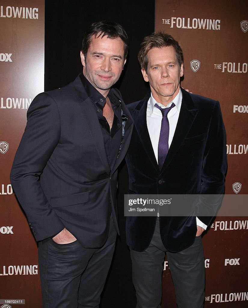 Actors <a gi-track='captionPersonalityLinkClicked' href=/galleries/search?phrase=James+Purefoy&family=editorial&specificpeople=208228 ng-click='$event.stopPropagation()'>James Purefoy</a> and <a gi-track='captionPersonalityLinkClicked' href=/galleries/search?phrase=Kevin+Bacon&family=editorial&specificpeople=202000 ng-click='$event.stopPropagation()'>Kevin Bacon</a> attends 'The Following' New York Premiere at New York Public Library - Astor Hall on January 18, 2013 in New York City.