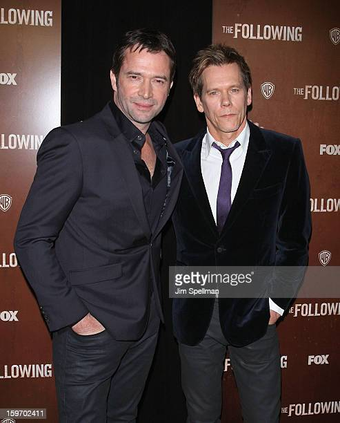 Actors James Purefoy and Kevin Bacon attends 'The Following' New York Premiere at New York Public Library Astor Hall on January 18 2013 in New York...