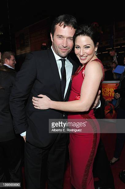 Actors James Purefoy and Lynn Collins arrive at the Walt Disney Presents 'John Carter' premiere held at Regal Cinemas LA Live on February 22 2012 in...