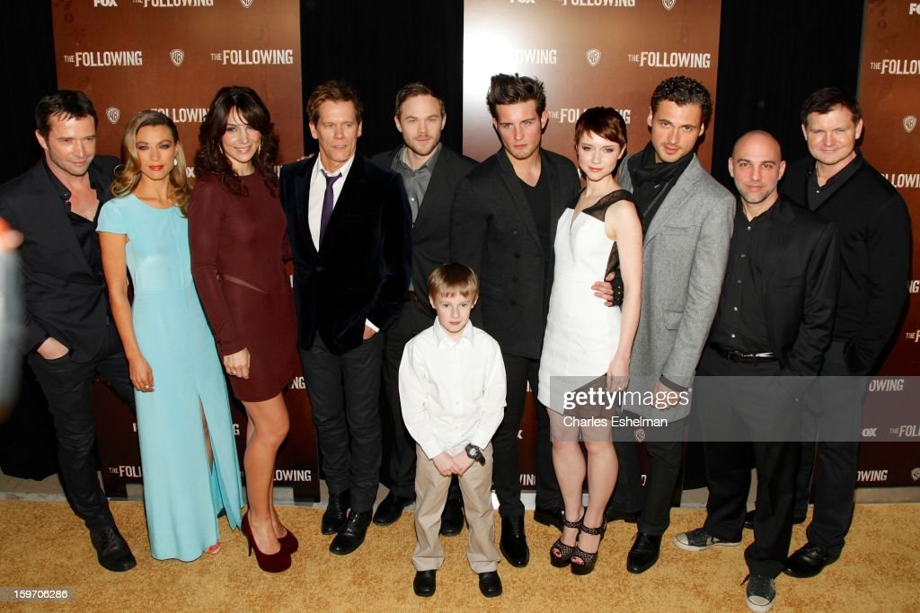 Actors James Purefoy, Natalie Zea, Annie Parisse, Kevin Bacon, Shawn Ashmore, Kyle Catlett, Nico Tortorella, Valorie Curry, Adan Canto, director Marocs Siega and creator Kevin Williamson attend 'The Following' premiere at The New York Public Library on January 18, 2013 in New York City.