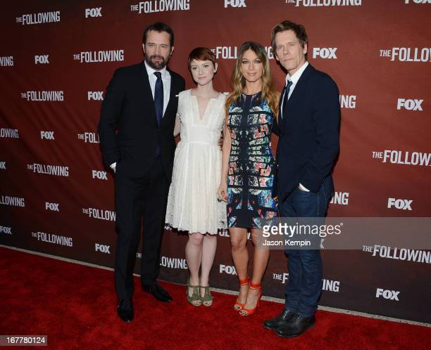 Actors James Purefoy Valorie Curry Natalie Zea and Kevin Bacon attend the screening of Fox's 'The Following' at Leonard H Goldenson Theatre on April...