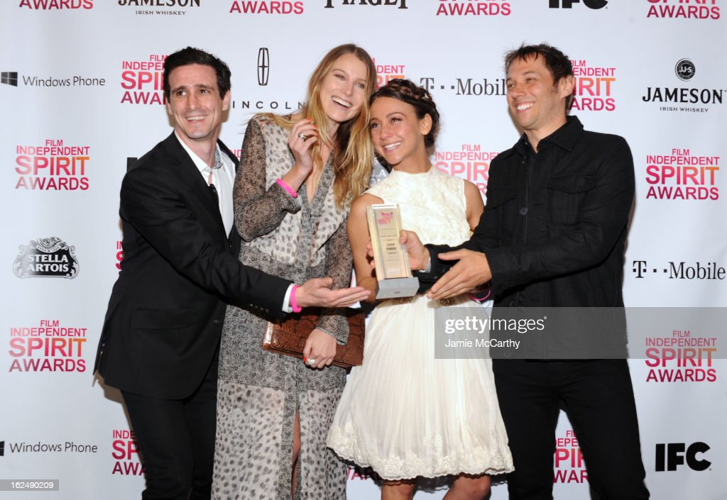 Actors James Ransone, <a gi-track='captionPersonalityLinkClicked' href=/galleries/search?phrase=Dree+Hemingway&family=editorial&specificpeople=5650645 ng-click='$event.stopPropagation()'>Dree Hemingway</a> and <a gi-track='captionPersonalityLinkClicked' href=/galleries/search?phrase=Stella+Maeve&family=editorial&specificpeople=3957724 ng-click='$event.stopPropagation()'>Stella Maeve</a> and director Sean Baker attend the 2013 Film Independent Spirit Awards After Party hosted by Microsoft Windows Phone at The Bungalow at The Fairmont Hotel on February 23, 2013 in Santa Monica, California.