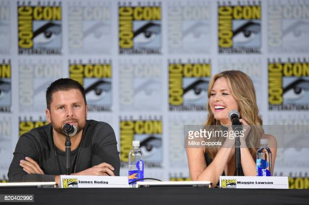 Actors James Roday and Maggie Lawson speak onstage at the 'Psych' reunion and movie sneak peek during ComicCon International 2017 at San Diego...