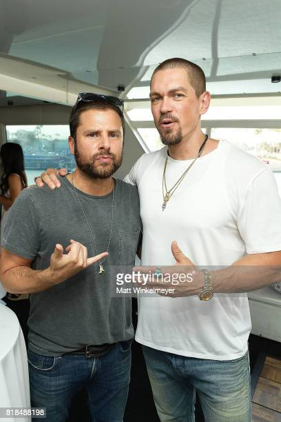 Actors James Roday and Steve Howey attend Steve Howey's Surprise 40th Birthday Party on July 16 2017 in Los Angeles California