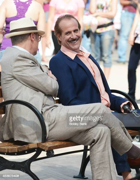 Actors James Spader and Peter Stormare on the set of 'The Blacklist' on August 14 2014 in Brooklyn New York