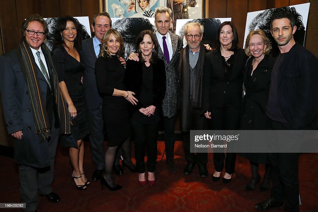 Actors James Spader, Gloria Reuben, Tommy Lee Jones, DreamWorks Co-Chairman/CEO Stacey Snider, actors Sally Field, Daniel Day-Lewis, director Steven Spielberg, producer Kathleen Kennedy, historian Doris Kearns Goodwin and actor Jeremy Strong attend the special screening of Steven Spielberg's 'Lincoln' at the Ziegfeld Theatre on November 14, 2012 in New York City.