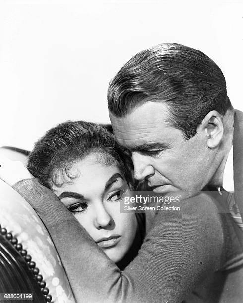 Actors James Stewart as Detective John 'Scottie' Ferguson and Kim Novak as Judy Barton in a publicity still for the film 'Vertigo' directed by Alfred...