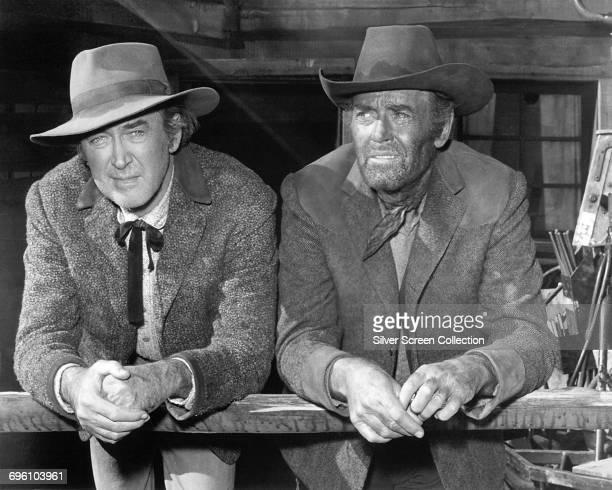 Actors James Stewart as Johnny Cobb and Henry Fonda as Bob Larkin in the western 'Firecreek' 1968