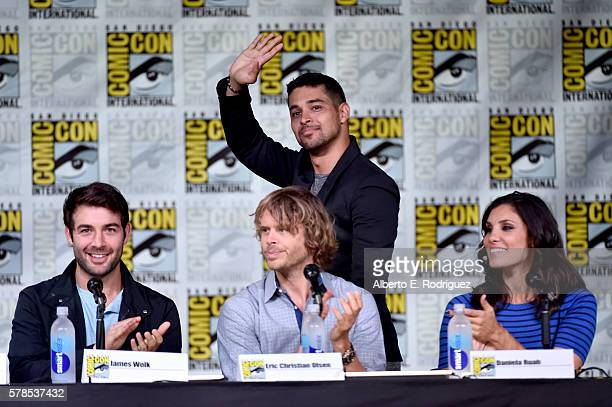 Actors James Wolk Eric Christian Olsen Wilmer Valderrama and Daniela Ruah attend CBS Television Studios Block Including 'Scorpion' 'American Gothic'...