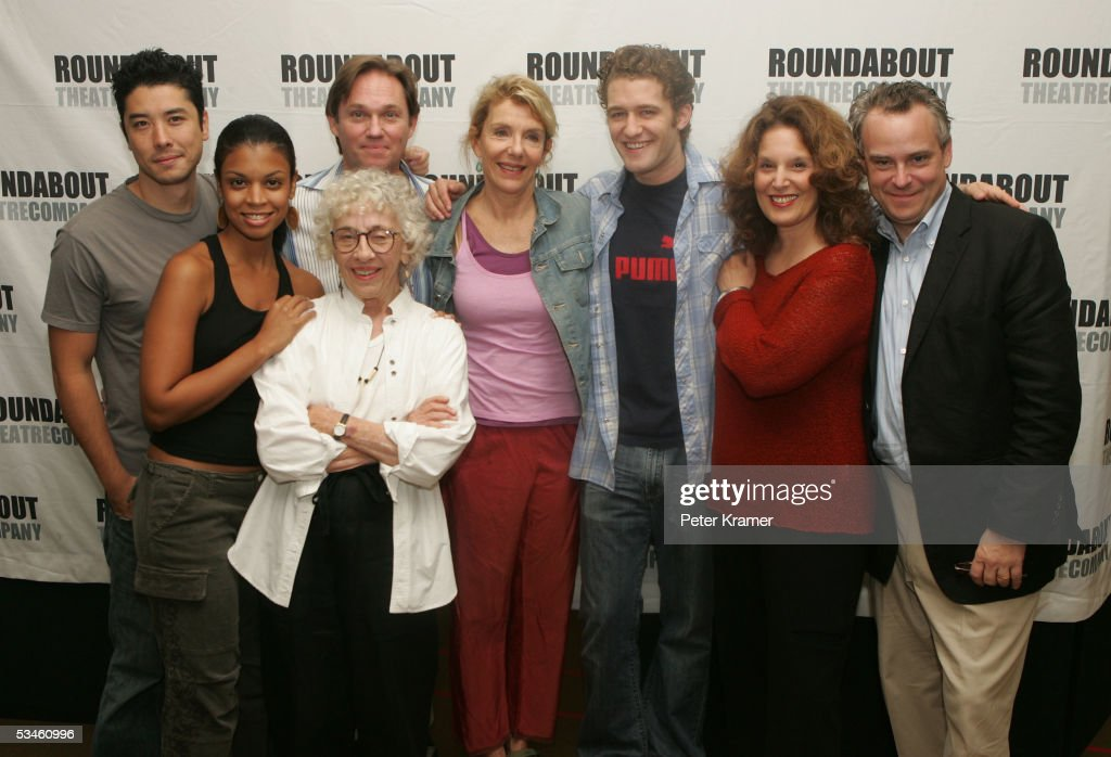 Actors James Yaegashi, Susan Kelechi Watson, Richard Thomas, Ann Guilbert, Jill Clayburgh, Matthew Morrison, Leslie Ayvazian and director Doug Hughes pose for a photo before the rehearsals of the Rounabout Theatre Company's Broadway production of 'A Naked Grl on the Appian Way' on August 25, 2005 in New York City.