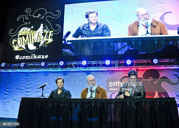 Actors Jamie Bamber Edward James Olmos and Michael Trucco attend Day 2 of the Third Annual Stan Lee's Comikaze Expo held at Los Angeles Convention...