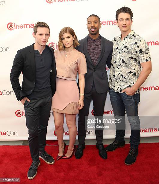 Actors Jamie Bell Kate Mara Michael B Jordan and Miles Teller attend the 20th Century Fox Presentation during 2015 CinemaCon at The Colosseum at...