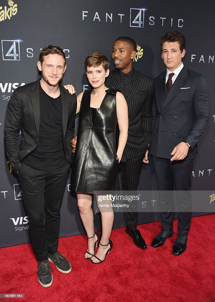 Actors Jamie Bell Kate Mara Michael B Jordan and Miles Teller attend the New York premiere of 'Fantastic Four' at Williamsburg Cinemas on August 4...