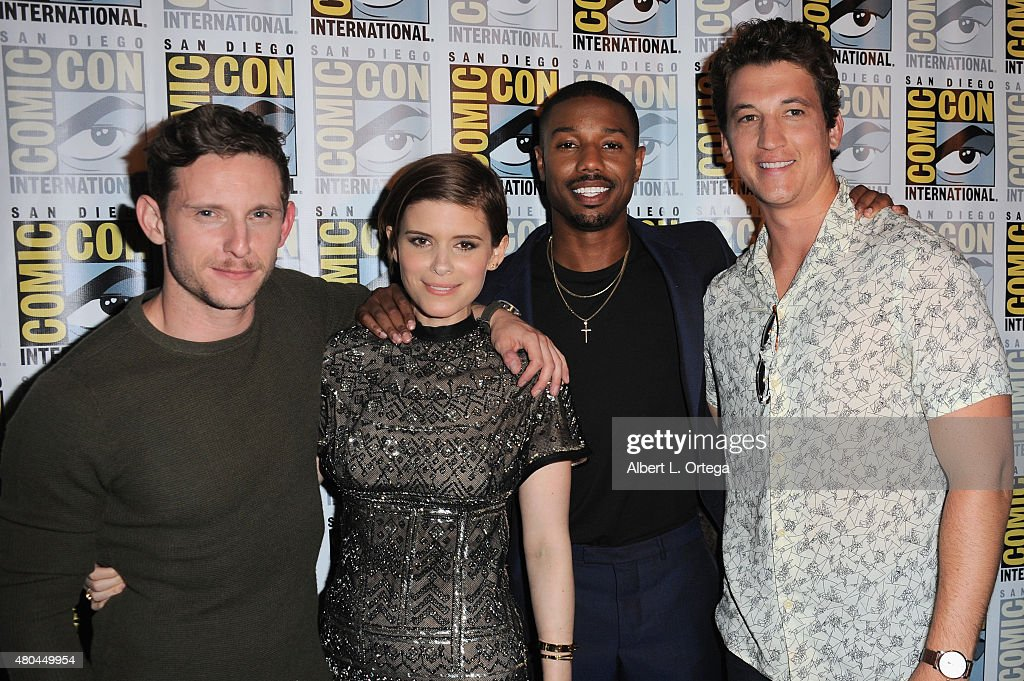 Actors Jamie Bell, Kate Mara, Michael B. Jordan, and Miles Teller of 'Fantastic Four' pose at the 20th Century FOX panel during Comic-Con International 2015 at the San Diego Convention Center on July 11, 2015 in San Diego, California.