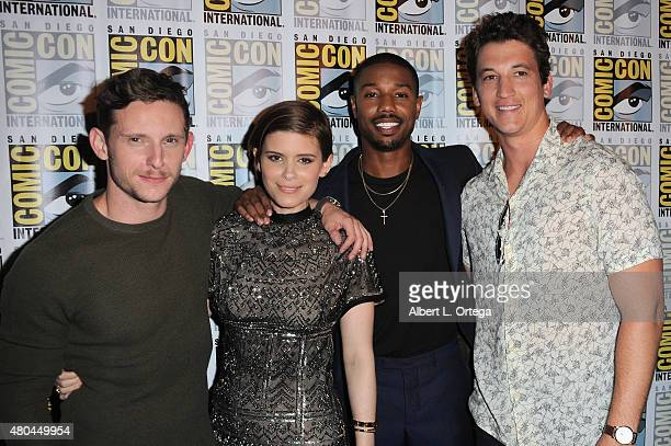 Actors Jamie Bell Kate Mara Michael B Jordan and Miles Teller of 'Fantastic Four' pose at the 20th Century FOX panel during ComicCon International...