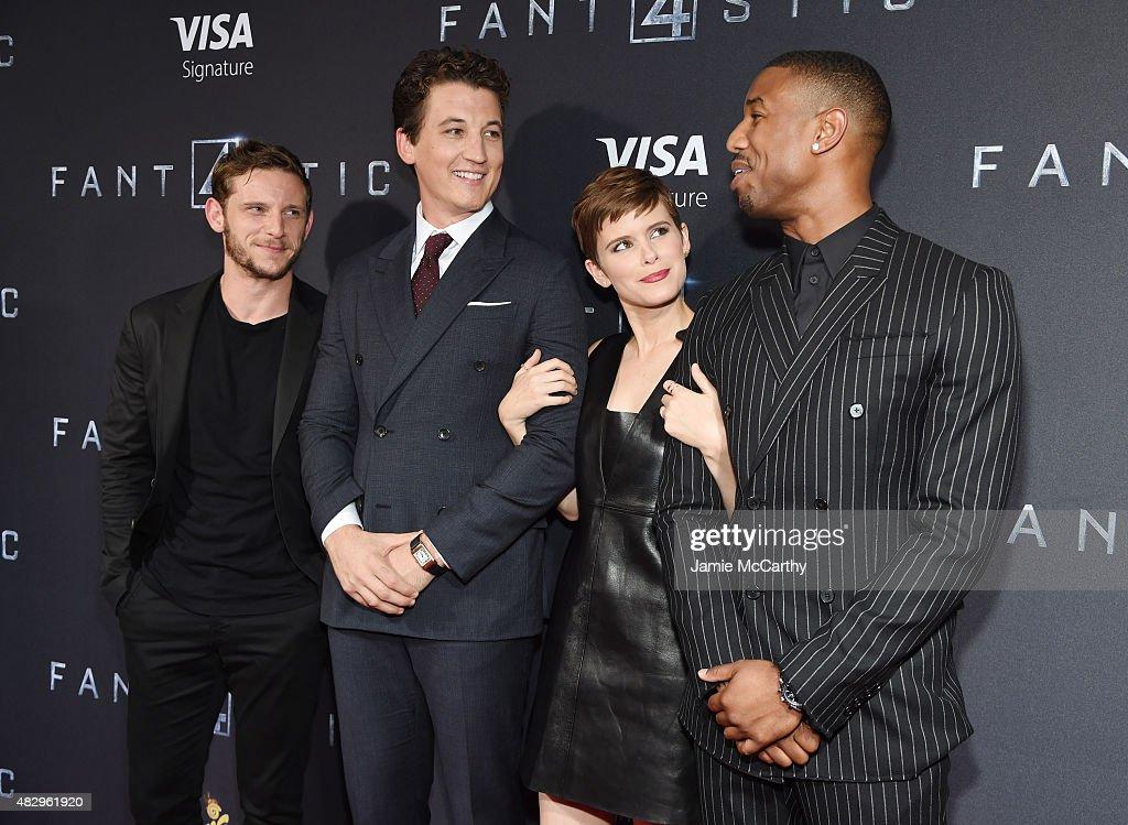 Actors Jamie Bell Miles Teller Kate Mara and Michael B Jordan attend the New York premiere of 'Fantastic Four' at Williamsburg Cinemas on August 4...