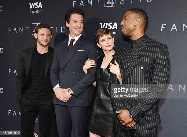 Actors Jamie Bell Miles Teller Kate Mara and Michael B Jordan attend the New York premiere of 'Fantastic Four' at Williamsburg Cinemas on August 4...