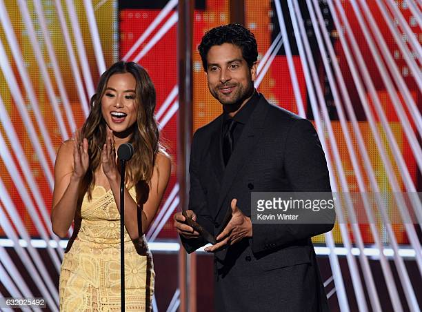 Actors Jamie Chung and Adam Rodriguez speak onstage during the People's Choice Awards 2017 at Microsoft Theater on January 18 2017 in Los Angeles...