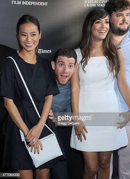 Actors Jamie Chung Bryan Greenberg and Hannah Simone arrive at the 2015 Los Angeles Film Festival screening of 'Flock Of Dudes' at Regal Cinemas LA...
