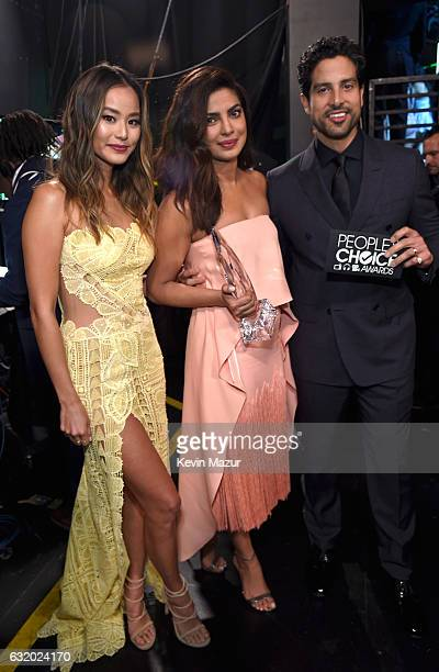Actors Jamie Chung Priyanka Chopra and Adam Rodriguez backstage at the People's Choice Awards 2017 at Microsoft Theater on January 18 2017 in Los...