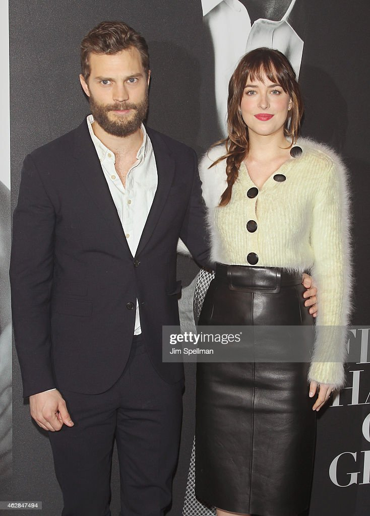 Actors Jamie Dornan and Dakota Johnson attend the 'Fifty Shades Of Grey' New York fan first screening at Ziegfeld Theatre on February 6, 2015 in New York City.