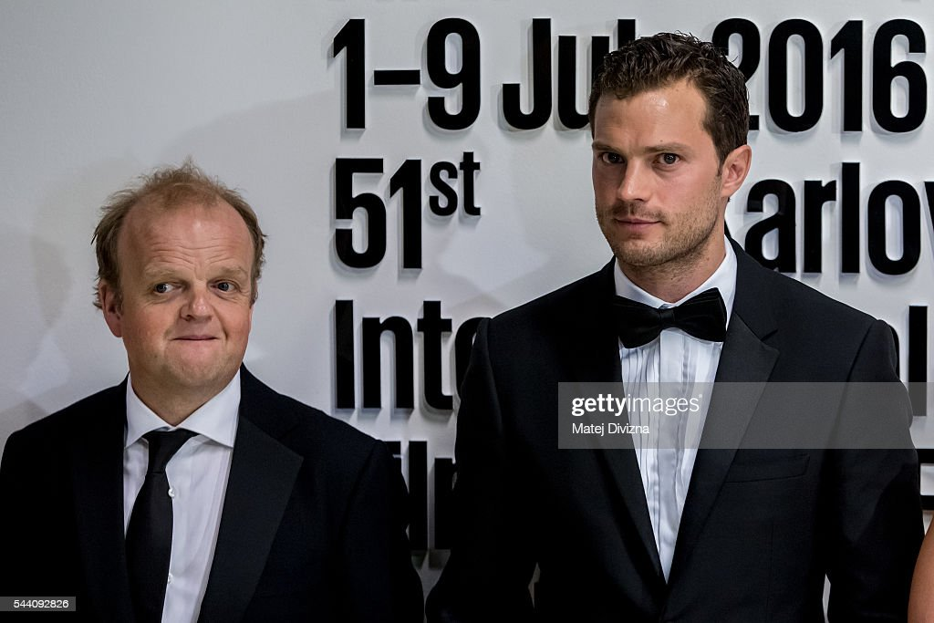 Actors Jamie Dornan (R) and Toby Jones pose for photographers at the opening ceremony of the 51st Karlovy Vary International Film Festival (KVIFF) on July 1, 2016 in Karlovy Vary, Czech Republic.