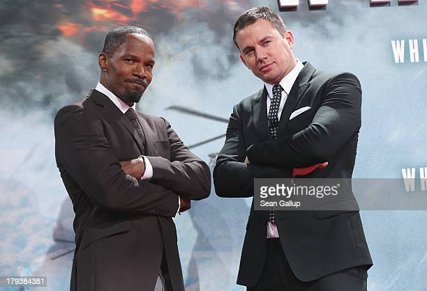 Actors Jamie Foxx and Channing Tatum attend the 'White House Down' Germany premiere at CineStar on September 2 2013 in Berlin Germany