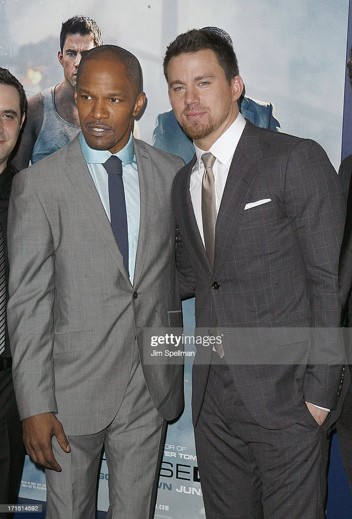 Actors Jamie Foxx and Channing Tatum attend 'White House Down' New York Premiere at Ziegfeld Theater on June 25, 2013 in New York City.