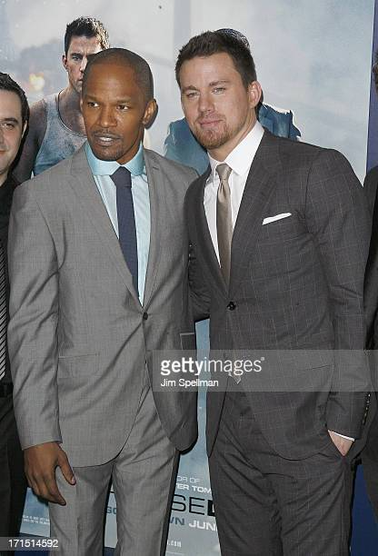 Actors Jamie Foxx and Channing Tatum attend 'White House Down' New York Premiere at Ziegfeld Theater on June 25 2013 in New York City