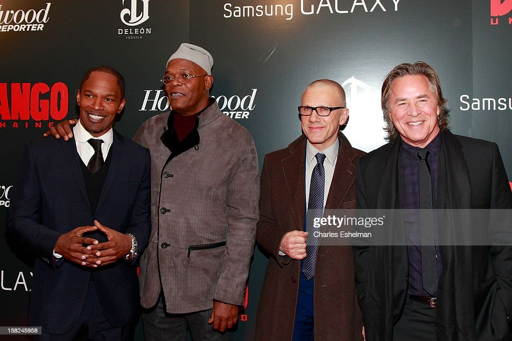 Actors <a gi-track='captionPersonalityLinkClicked' href=/galleries/search?phrase=Jamie+Foxx&family=editorial&specificpeople=201715 ng-click='$event.stopPropagation()'>Jamie Foxx</a>, <a gi-track='captionPersonalityLinkClicked' href=/galleries/search?phrase=Samuel+L.+Jackson&family=editorial&specificpeople=167234 ng-click='$event.stopPropagation()'>Samuel L. Jackson</a>, <a gi-track='captionPersonalityLinkClicked' href=/galleries/search?phrase=Christoph+Waltz&family=editorial&specificpeople=4276914 ng-click='$event.stopPropagation()'>Christoph Waltz</a> and <a gi-track='captionPersonalityLinkClicked' href=/galleries/search?phrase=Don+Johnson&family=editorial&specificpeople=211250 ng-click='$event.stopPropagation()'>Don Johnson</a> attend The Weinstein Company With The Hollywood Reporter, Samsung Galaxy And The Cinema Society Host A Screening Of 'Django Unchained' at Ziegfeld Theater on December 11, 2012 in New York City.