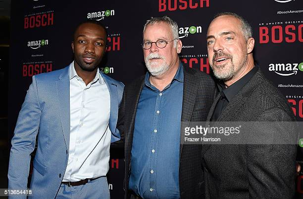Actors Jamie Hector Michael Connelly Titus Welliver arrrive at the Premiere Of Amazon's 'Bosch' Season 2 at SilverScreen Theater at the Pacific...