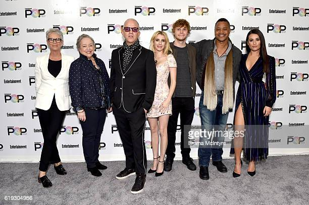 Actors Jamie Lee Curtis Kathy Bates filmmaker Ryan Murphy actors Emma Roberts Evan Peters Cuba Gooding Jr and Lea Michele pose backstage during...