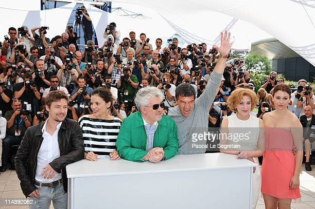 Actors Jan Cornet Elena Anaya director Pedro Almodovar Antonio Banderas Marisa Paredes and Blanca Suarez attend 'The Skin I Live In' Photocall at...