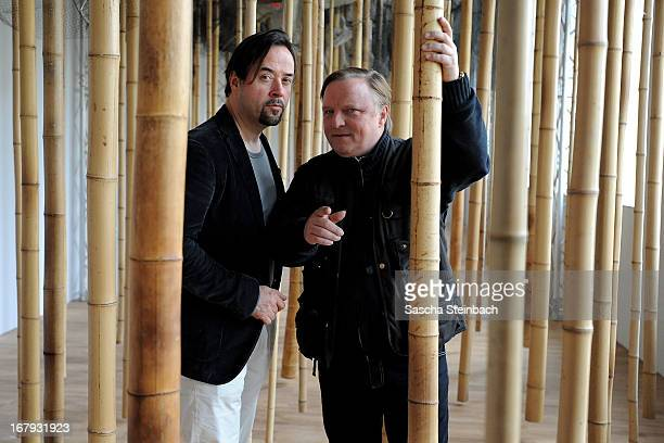 Actors Jan Josef Liefers and Axel Prahl pose during a photocall on set of the WDR Tatort 'Die chinesische Prinzessin' at Westfaelisches Landesmuseum...