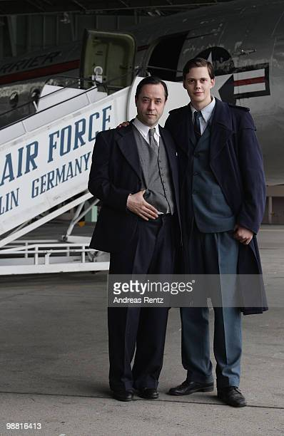 Actors Jan Josef Liefers and Bill Skarsgard attend a photocall during a set visit to promote the new movie Simon on May 3 2010 in Berlin Germany