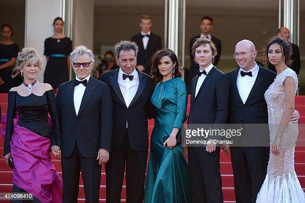 Actors Jane Fonda and Harvey Keitel director Paolo Sorrentino and actors Rachel Weisz Paul Dano Alex Macqueen and Madalina Ghenea attend the 'Youth'...