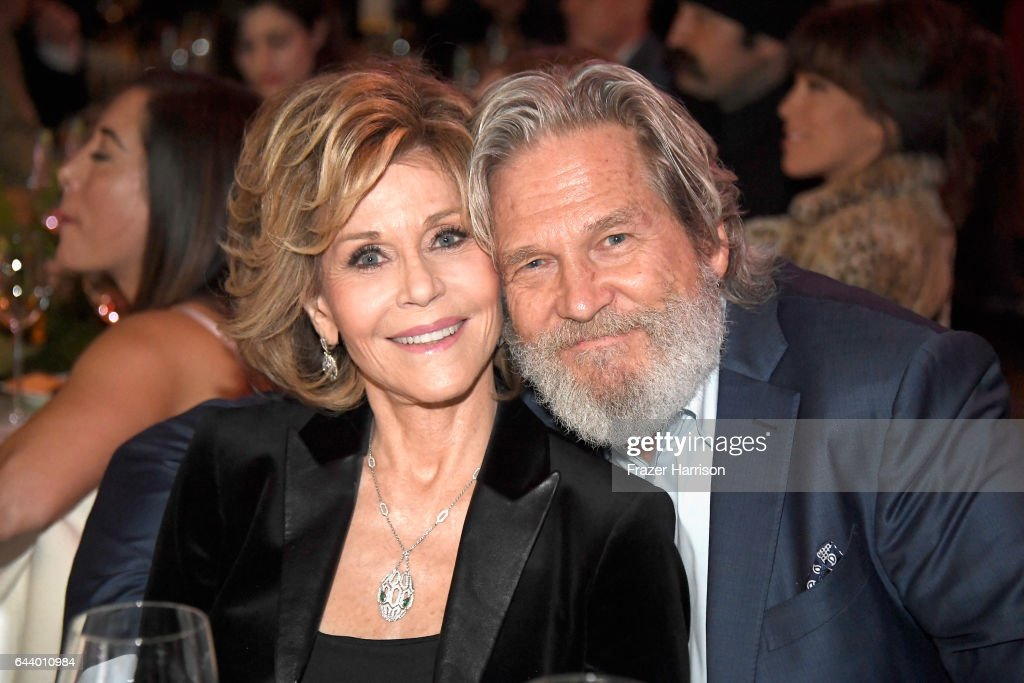 Actors Jane Fonda and Jeff Bridges attend the 14th Annual Global Green Pre Oscar Party at TAO Hollywood on February 22, 2017 in Los Angeles, California.