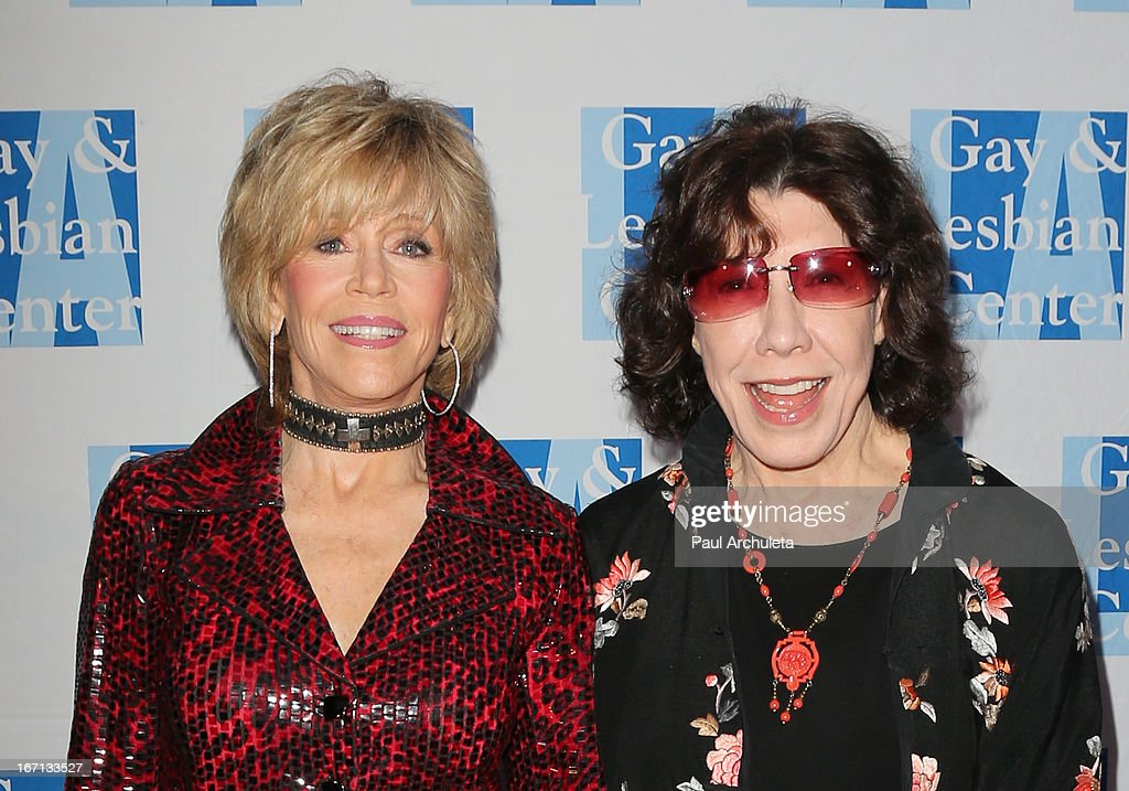 Actors Jane Fonda (L) and Lily Tomlin (R) attend a 'Conversations With Coco' at the Gay & Lesbian Center on April 20, 2013 in Los Angeles, California.