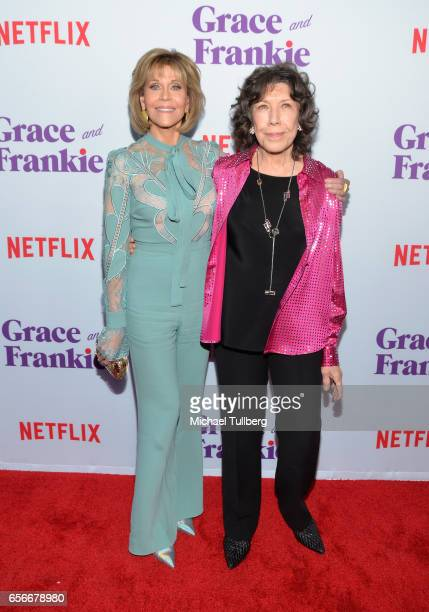 Actors Jane Fonda and Lily Tomlin attend a screening for Netflix's 'Grace and Frankie' Season 3 at ArcLight Hollywood on March 22 2017 in Hollywood...