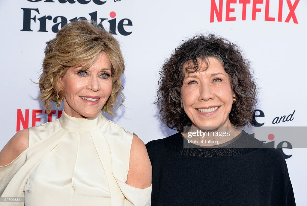 Actors Jane Fonda and Lily Tomlin attend the premiere of Season 2 of the Netflix Original Series 'Grace & Frankie' at Harmony Gold on May 1, 2016 in Los Angeles, California.