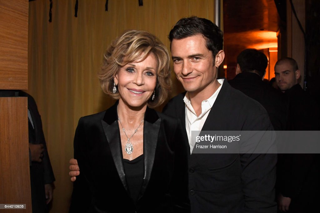 Actors Jane Fonda and Orlando Bloom attend the 14th Annual Global Green Pre Oscar Party at TAO Hollywood on February 22, 2017 in Los Angeles, California.